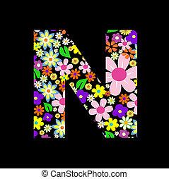 Vector flower font, letter N