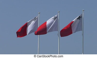 Three flags of Malta isolated - Group of three national...