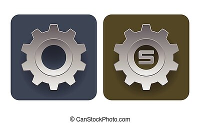 Vector illustration of simple gear icons