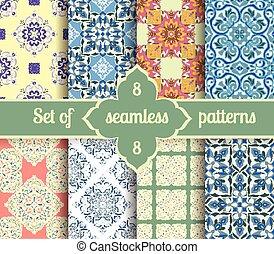 Set hand drawing tile vintage color seamless pattern....