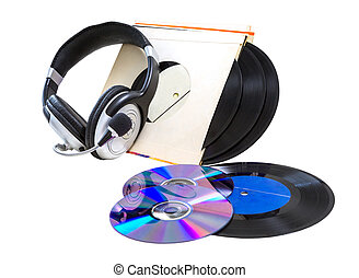 headphones, vinyl records, CDs, - headphones, vinyl records...
