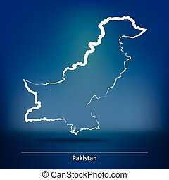 Doodle Map of Pakistan - vector illustration
