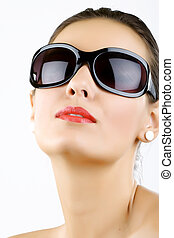 young, beautiful woman wearing sunglasses - Fashion portrait...
