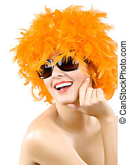 woman wearing an orange feather wig and sunglasses - picture...