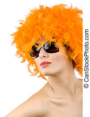 woman with orange feather wig and sunglasses - picture of...