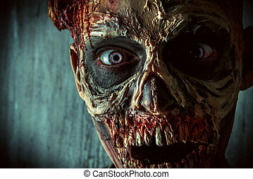 close-up zombie - Close-up portrait of a horrible scary...