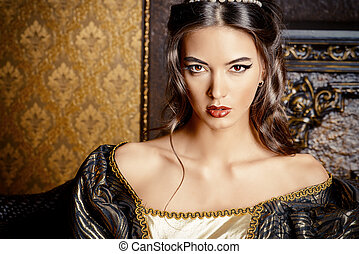 masquerade - Renaissance Style - beautiful young woman in...
