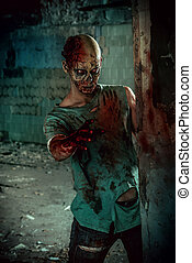 undead - Horrible scary zombie man on the ruins of an old...