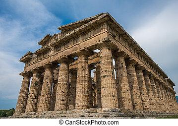 segundo, Templo, de, Hera, em, Paestum, arqueológico,...