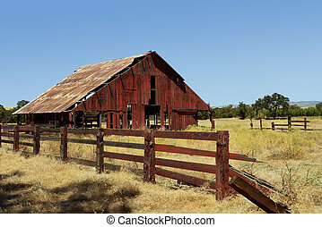 Old Abandoned Red Barn in the California Sierras