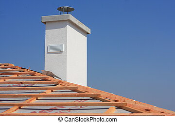 white chimney - White chimney on a new roof without...