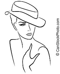 Elegant young lady in a hat, hand drawing black vector...
