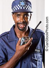 policeman on walkie talkie