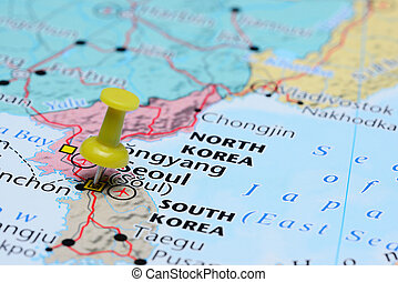 Seoul pinned on a map of Asia - Photo of pinned Seoul on a...