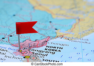 Pyongyang pinned on a map of Asia - Photo of pinned...