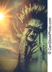 American Indian warrior, chief of the tribe, sunset man with...