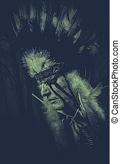 American Indian chief of the tribe man with feather...