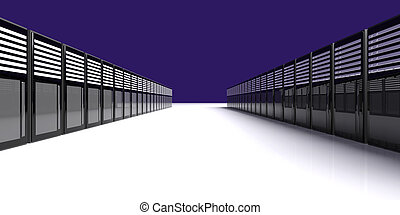 Server Room - 3D Illustration.
