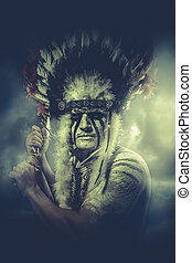 Sepia tone, American Indian warrior, chief of the tribe man...