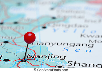 Nanjing pinned on a map of Asia - Photo of pinned Nanjing on...