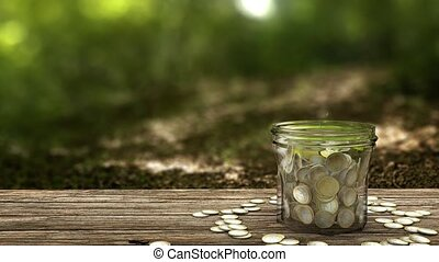 Plant growing from money jar. Concept of financial...