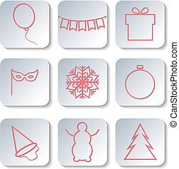 Icons new year, vector