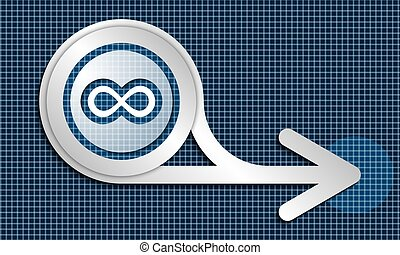 Silver abstract arrow and infinity symbol