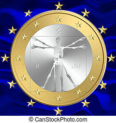 Euro Death - One coin of euro with a skeleton in place of...