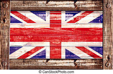 British flag in a wooden frame