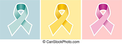 Cancer ribbon set on colored backgrounds.