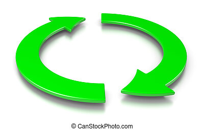 Cyclic Event - Two Green Cyclic Arrows 3D Illustration on...
