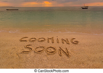 cooming soon beach - In the picture a beach at sunset with...
