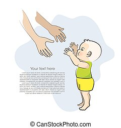 Baby and mothers arms isolated on blue background Vector...