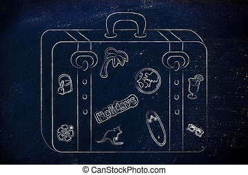 luggage with summer holiday inspired stickers - holidays and...
