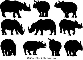 Rhino silhouettes - Ten vector rhino silhouettes on white...