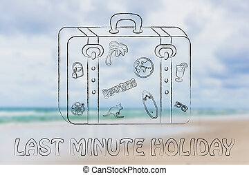 last minute holiday, baggage illustration - baggage with...