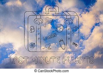 last minute flights, baggage illustration - last minute...