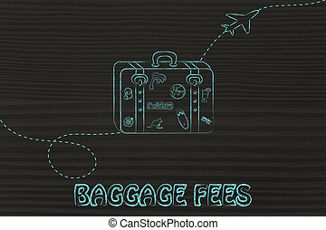 baggage fees - concept of baggage fees, illustration with...
