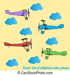 Vector set of children colored retro planes and clouds