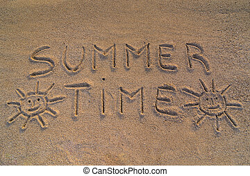 Summer time sign - In the picture the words on the sand...
