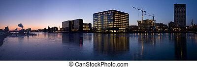 Copenhagen Harbor panorama - Icy waters in Copenhagen harbor...