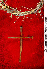 Nail Spike Cross with Crown of Thorns - Nail spike cross...