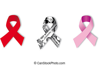 Aids, Dollar and Cancer Ribbons on white