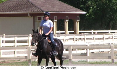 Female Equestrian Student - Female rider demonstrates...