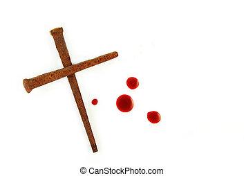 cruz, oxidado, clavos, sangre, gotas