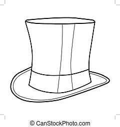 top hat - outline illustration of top hat for gentleman
