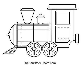 steam train - outline illustration of steam train, vintage...