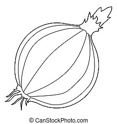 onion - outline illustration of onion, ingredient for meals