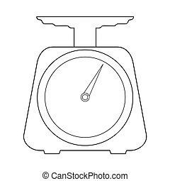 scales for kitchen - outline illustration of scales,...