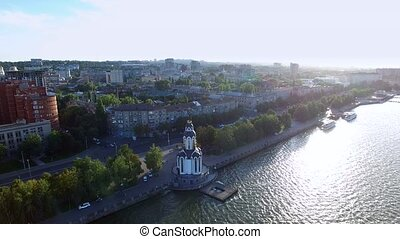 Flying Over The City Waterfront on The Cathedral on The...